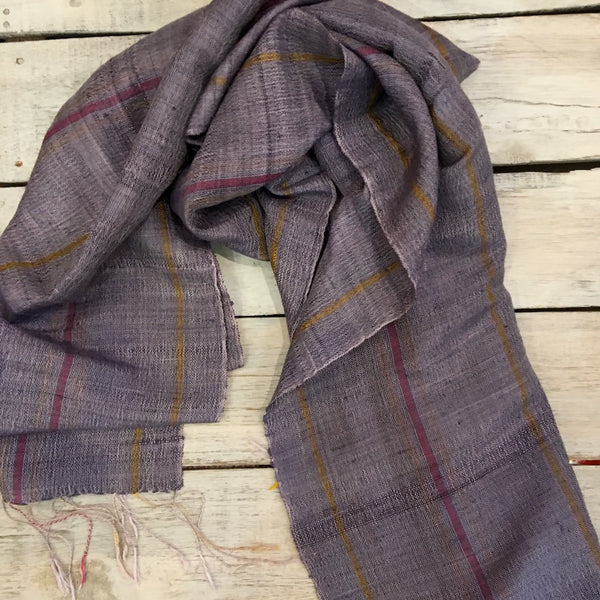 purple narrow stripe silk scarf from laos