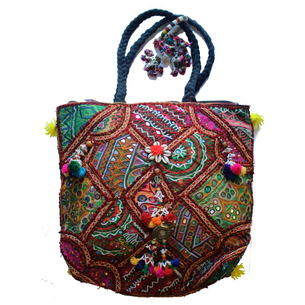 022c08b8cdbd7 Large Upcycled Vintage Boho Bag – From The Source