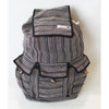 fair trade black stripe striped gehri cotton large hippy rucksack with pockets from Nepal