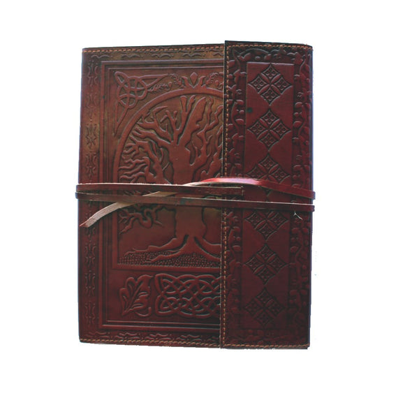 fair trade embossed leather journal with tie
