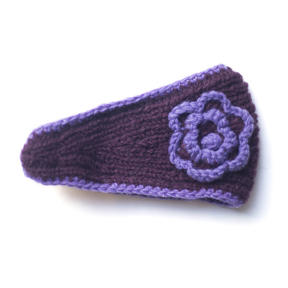 aubergine wool headband with lilac trim