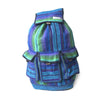 fair trade green purple colourful striped gehri cotton large hippy rucksack with pockets from Nepal
