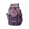 fair trade orange multi colourful striped gehri cotton large hippy rucksack with pockets from Nepal