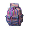 fair trade pink multi colourful striped gehri cotton large hippy rucksack with pockets from Nepal