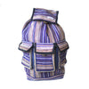 fair trade purple haze colourful striped gehri cotton large hippy rucksack with pockets from Nepal