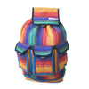 fair trade rainbow colourful striped gehri cotton large hippy rucksack with pockets from Nepal