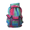 fair trade red turquoise colourful striped gehri cotton large hippy rucksack with pockets from Nepal