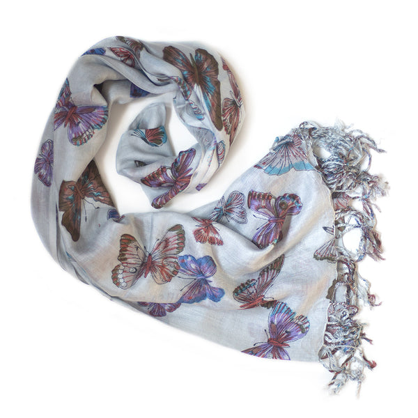 light blue butterfly print scarf