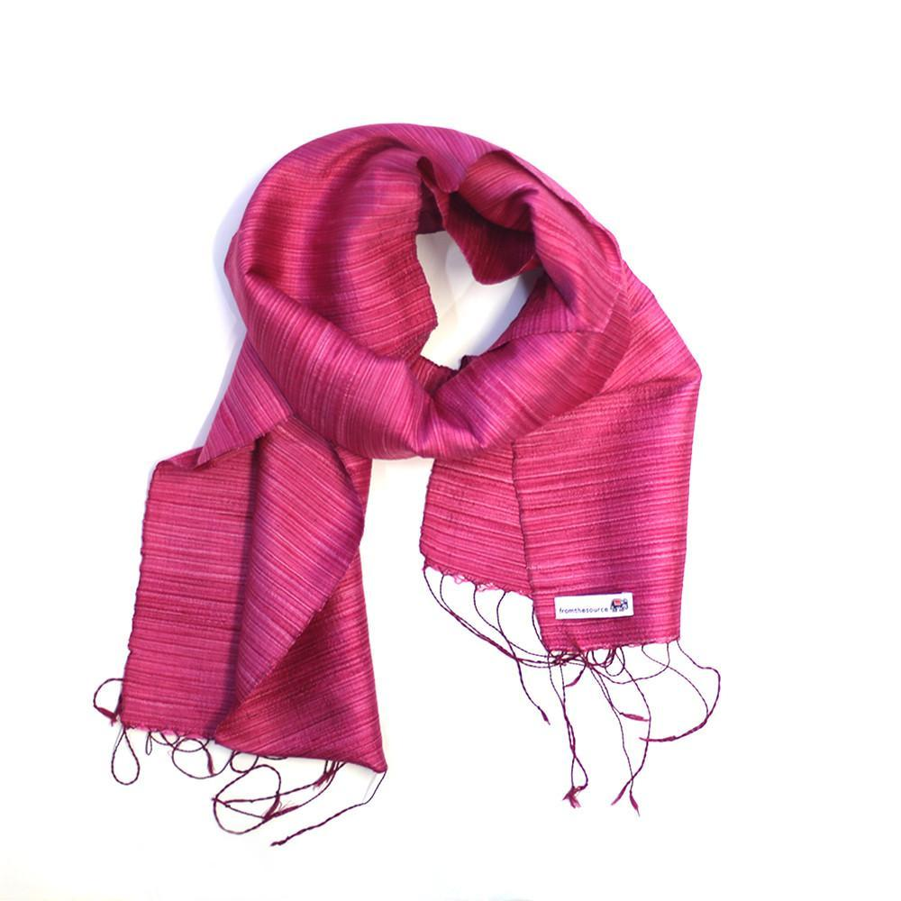 raspberry fine stripe silk scarf