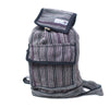 fair trade black stripe gehri cotton mini rucksack from Nepal