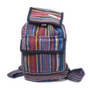 fair trade blue multi colourful striped gehri cotton mini rucksack from Nepal