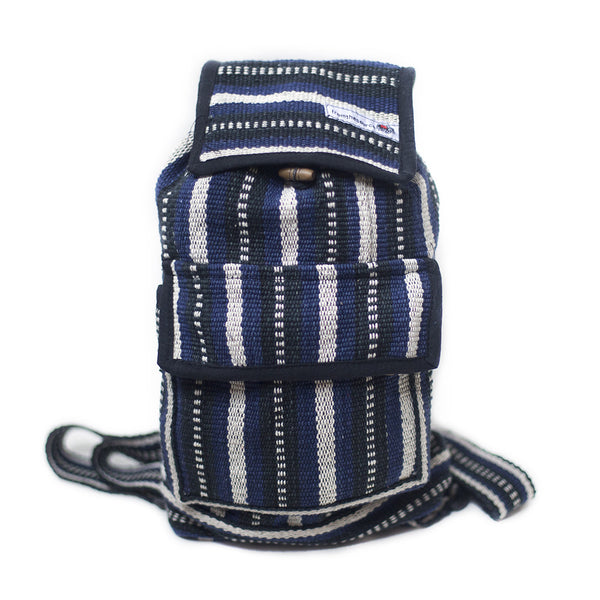 fair trade moonlight striped gehri cotton mini rucksack from Nepal
