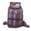 fair trade orange multi colourful striped gehri cotton mini rucksack from Nepal