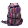 fair trade pink multi colourful striped gehri cotton mini rucksack from Nepal