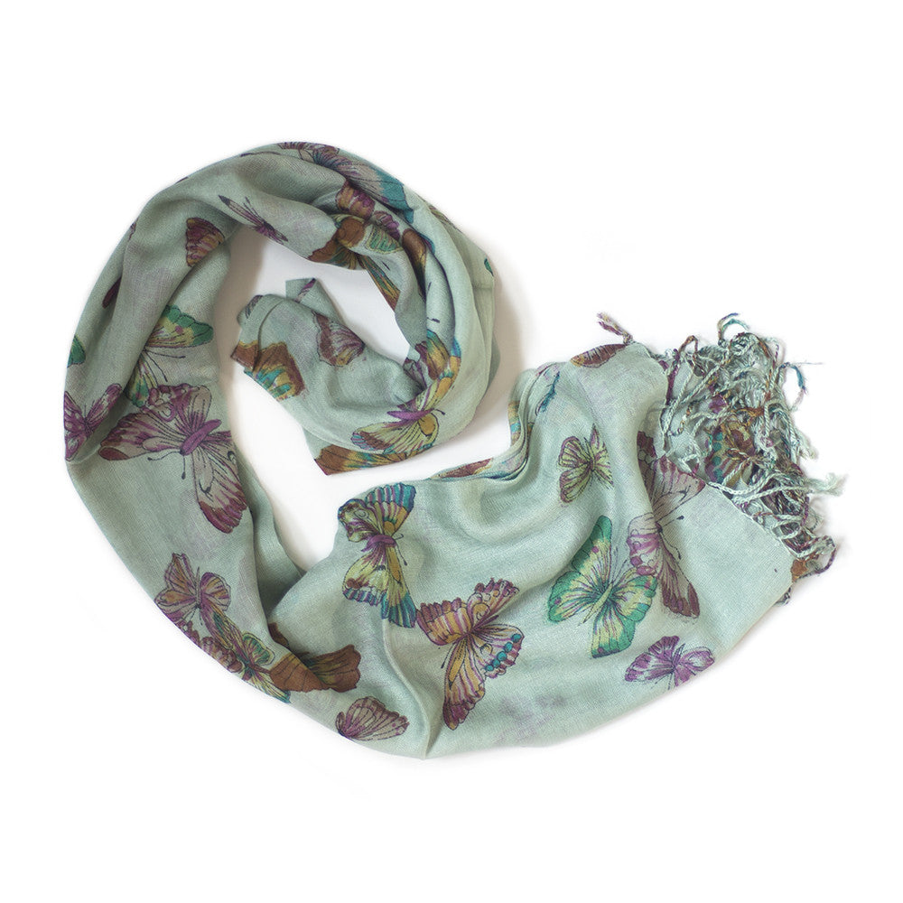 mint green butterfly print scarf