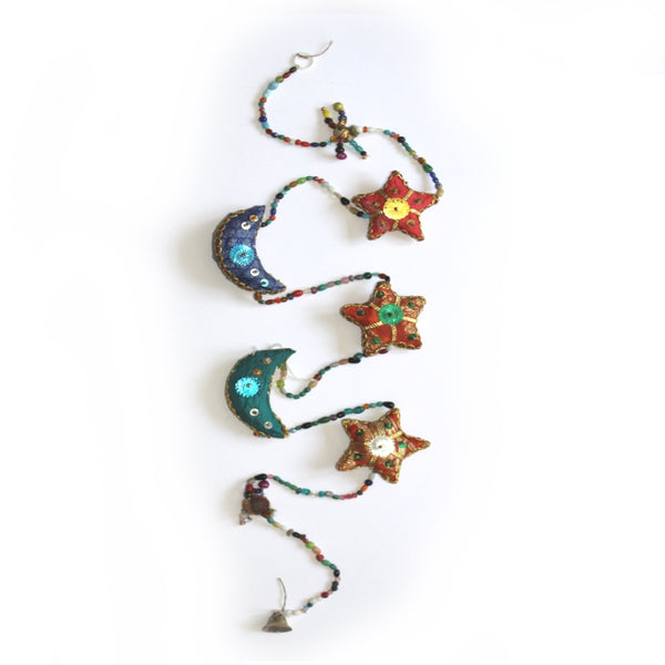 moon and stars tota bell indian hanging decoration
