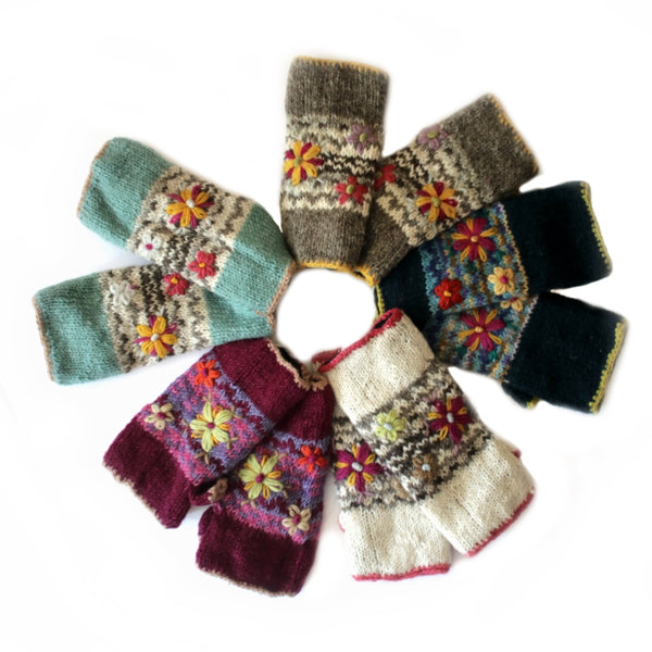 wool wrist warmers with flower embroidery - multiple colours