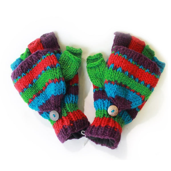 multi nordic stripe fingerless gloves with mitten flap