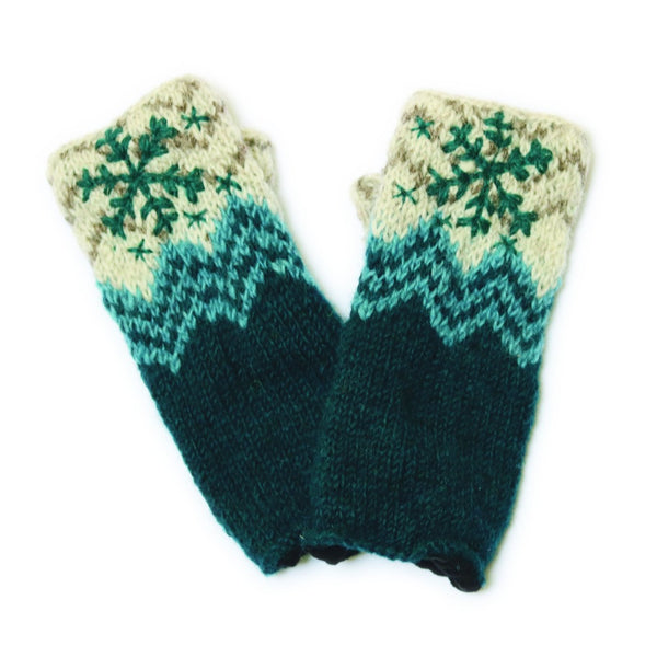 navy blue wool wristwarmers with snowflake embroidery
