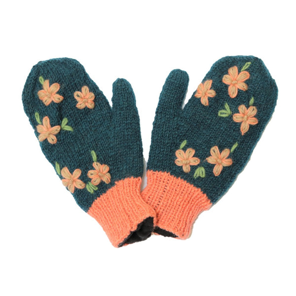 navy hand knit wool mittens