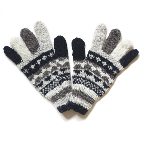 nordic design black and white wool gloves