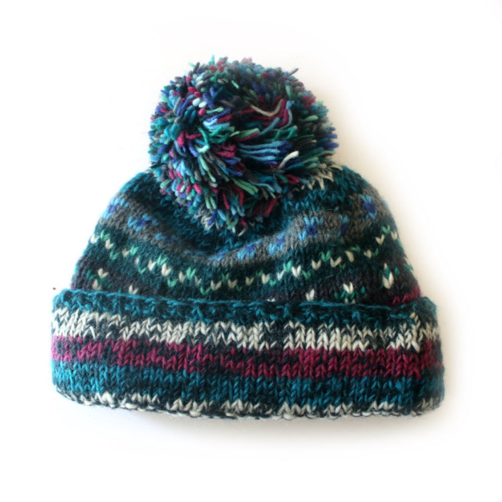 a93b31e1a75 ... bobble hat nordic knit hat in colourful midnight wool