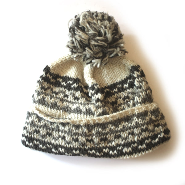 nordic knit wool bobble hat