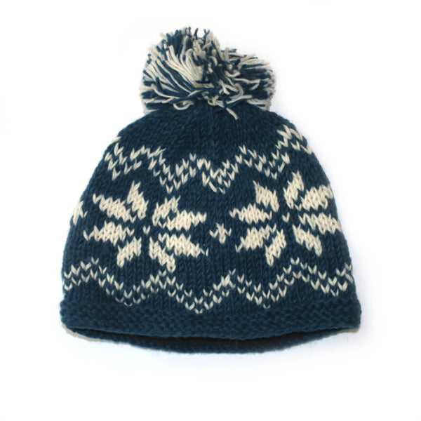blue bobble hat with winter snowflake print