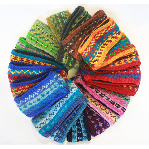 nordic knit wool headbands fair trade from Nepal