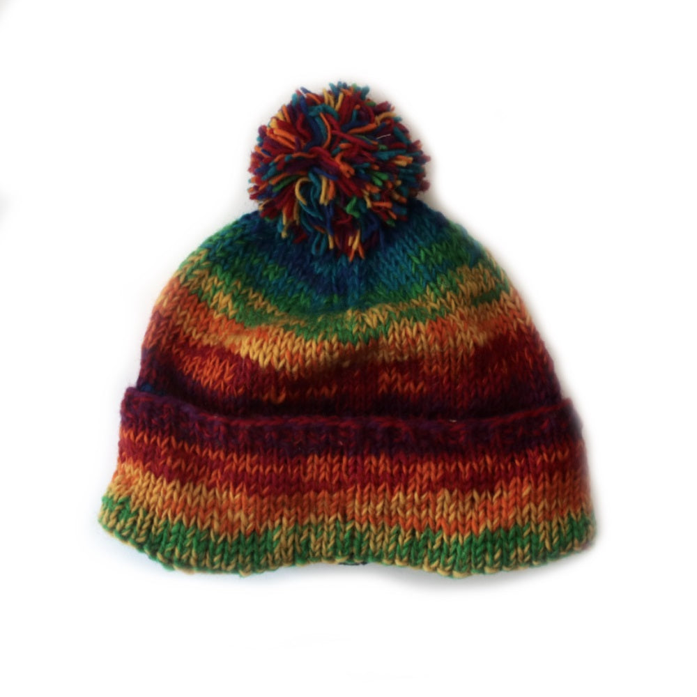 68c2db21559 ... nordic knit wool bobble hat in rainbow colourful wool ...