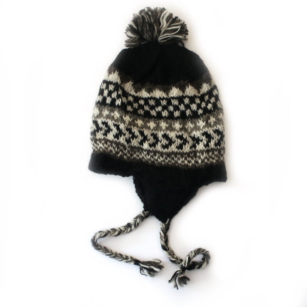 winter stripe wool bobble hat with ear flaps in black knit
