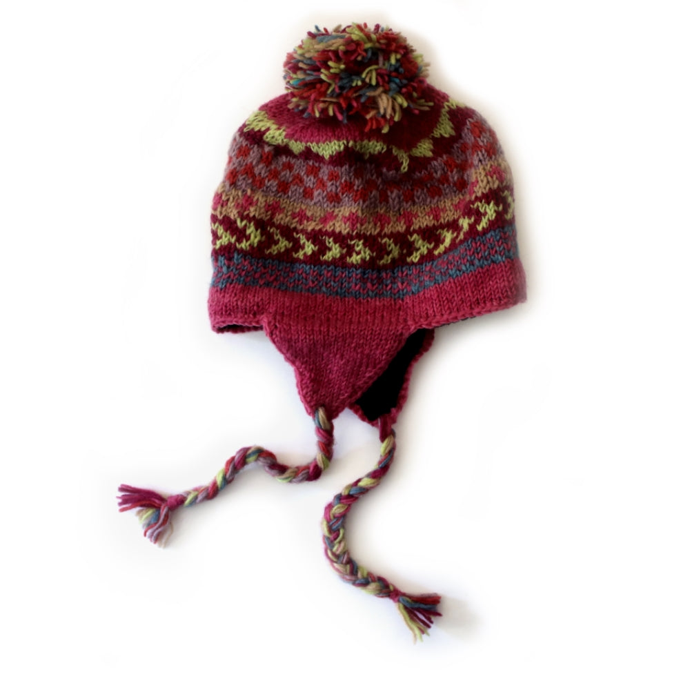 winter stripe bobble hat with ear flaps in pink