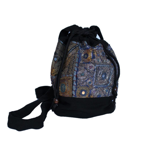 zari textile drawstring bag sourced from india, closed view