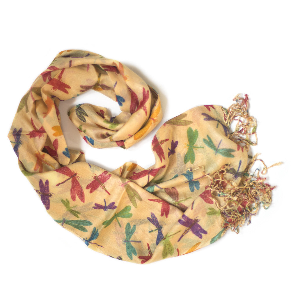 orange dragonfly print scarf