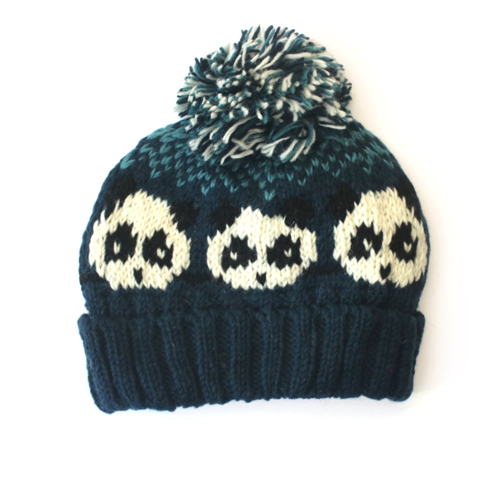 blue bobble hat with cute panda pattern