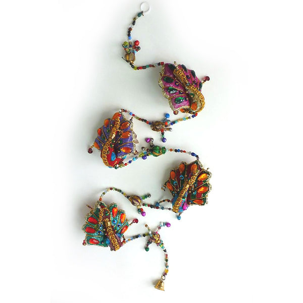 String of peacocks Indian hanging decoration