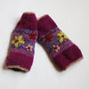 pink ethical wool wrist warmers