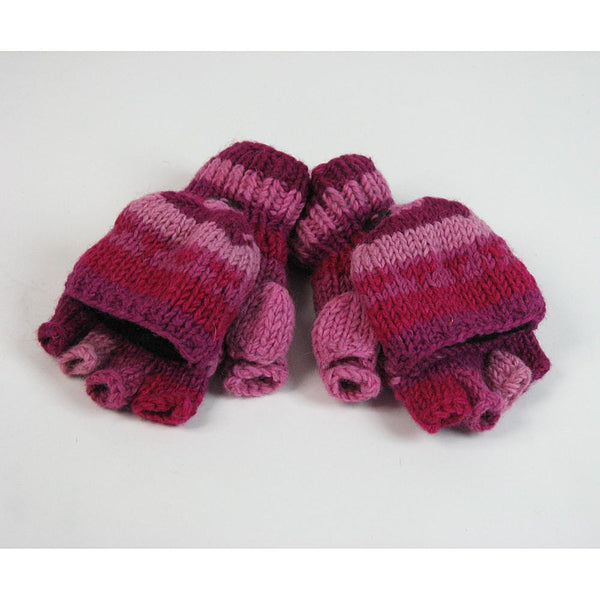 top view pink wool fingerless gloves with mitten flap