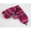 nordic stripe pink wool fingerless gloves with mitten flap