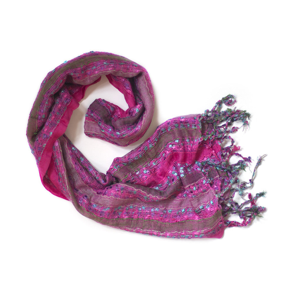 pink turquoise stitch and stripe scarf