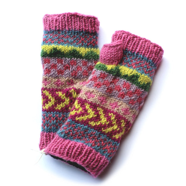 pink winter stripe wool wrist warmers