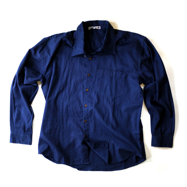 fair trade navy blue men's shirt from India