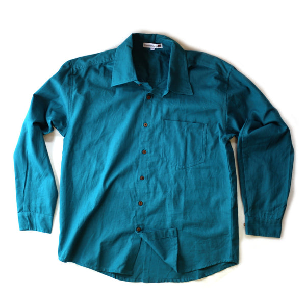 turquoise men's cotton shirt