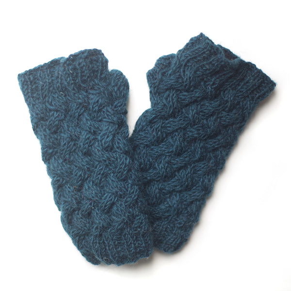 hand-knitted teal wool wrist warmers