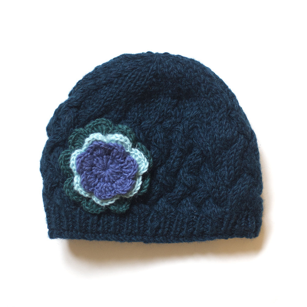 teal hand-knitted fair trade wool beanie hat