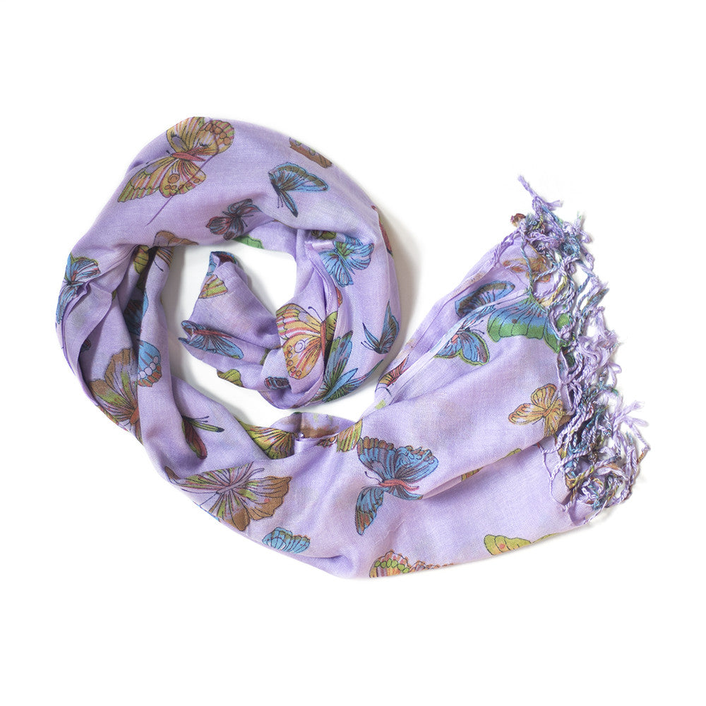 purple butterfly print scarf