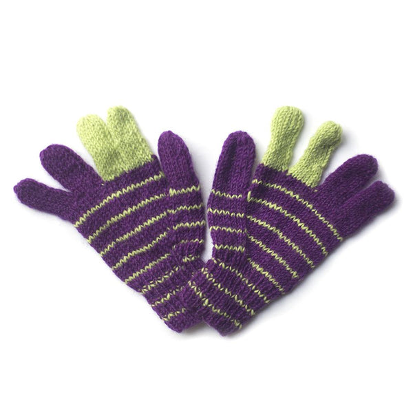 purple and green striped wool gloves fair trade from Nepal