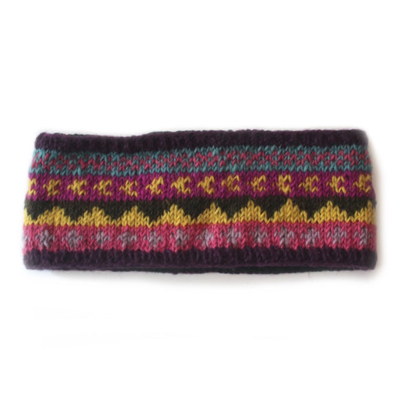 winter stripe wool headband in purple