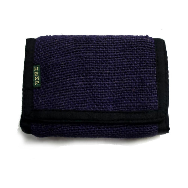 hemp tri-fold wallet purple