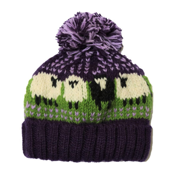 purple knitted bobble hat in sheep design